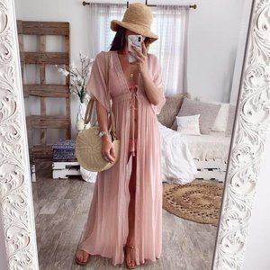 Boho Beach 👙Swim Cover-Up Kimono Sheer Pink